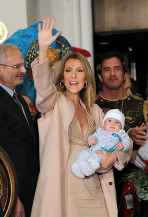 Celine Dion holds Nelson