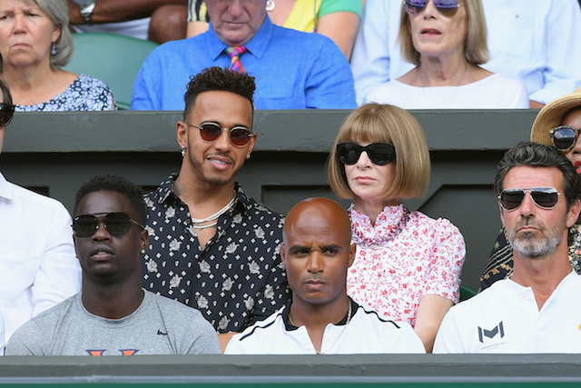 Lewis Hamilton and Anna Wintour attend day 12 of the Wimbledon Tennis Championships at the All England Lawn Tennis and Croquet Club