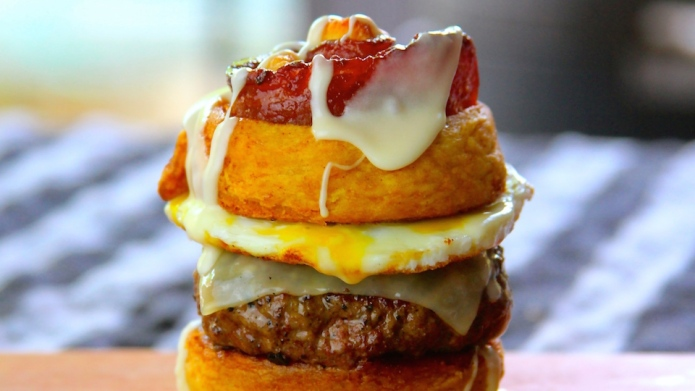 Candied Bacon Cinnamon Roll Burger looks