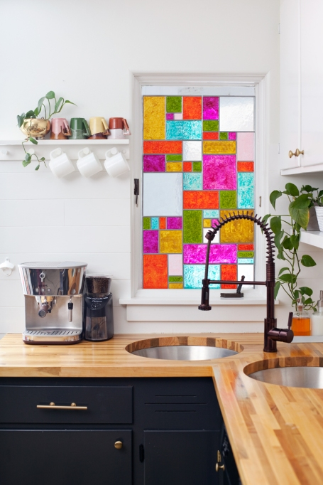 multicolored stained-glass window in kitchen