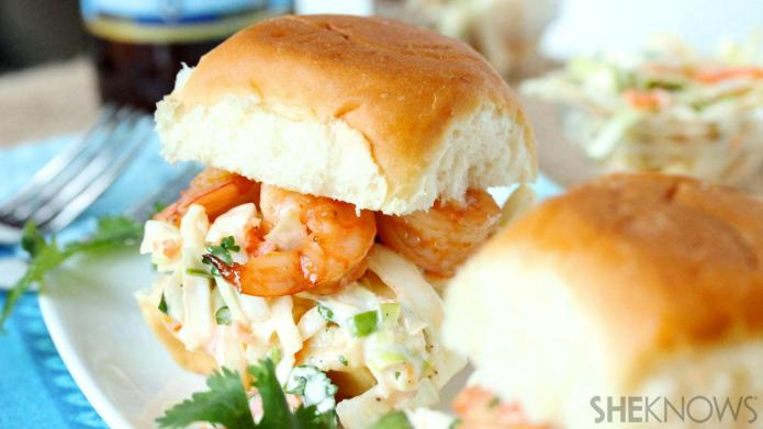 Sweet & spicy shrimp sliders piled