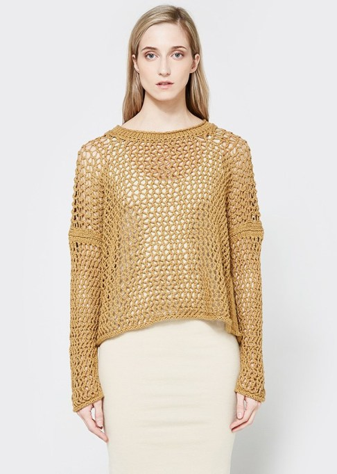 Summer Sweaters: Lauren Manoogian Net Pullover in Curry   Summer fashion 2017