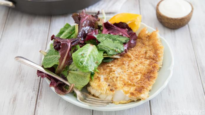 Pan-fried halibut with lemon-yogurt sauce in