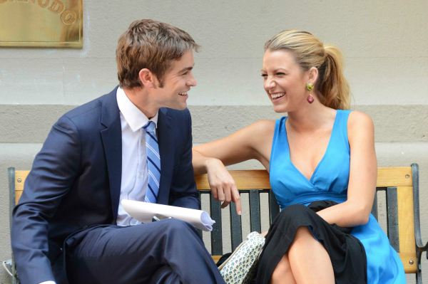 Chace Crawford and Blake Lively on the Gossip Girl Set