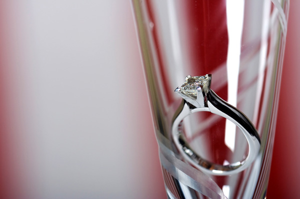 Champagne glass with engagement ring