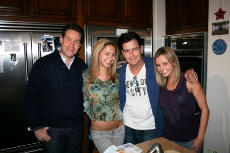 Charlie Sheen shows off his girlfriends Rachel Oberlin and Natalie Kenly