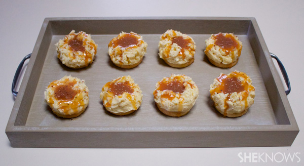 Cheesecake mashed potato bites with caramel gravy