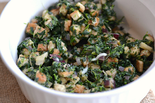 Cheesy spinach stuffing recipe