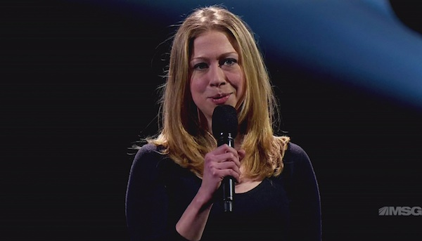 Chelsea Clinton gives a speech.