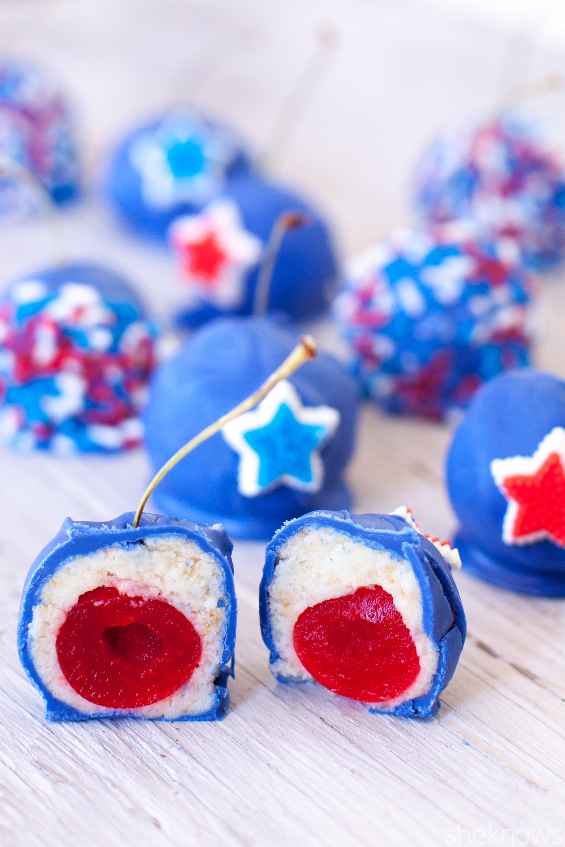 Cherry bomb red white and blue cake balls