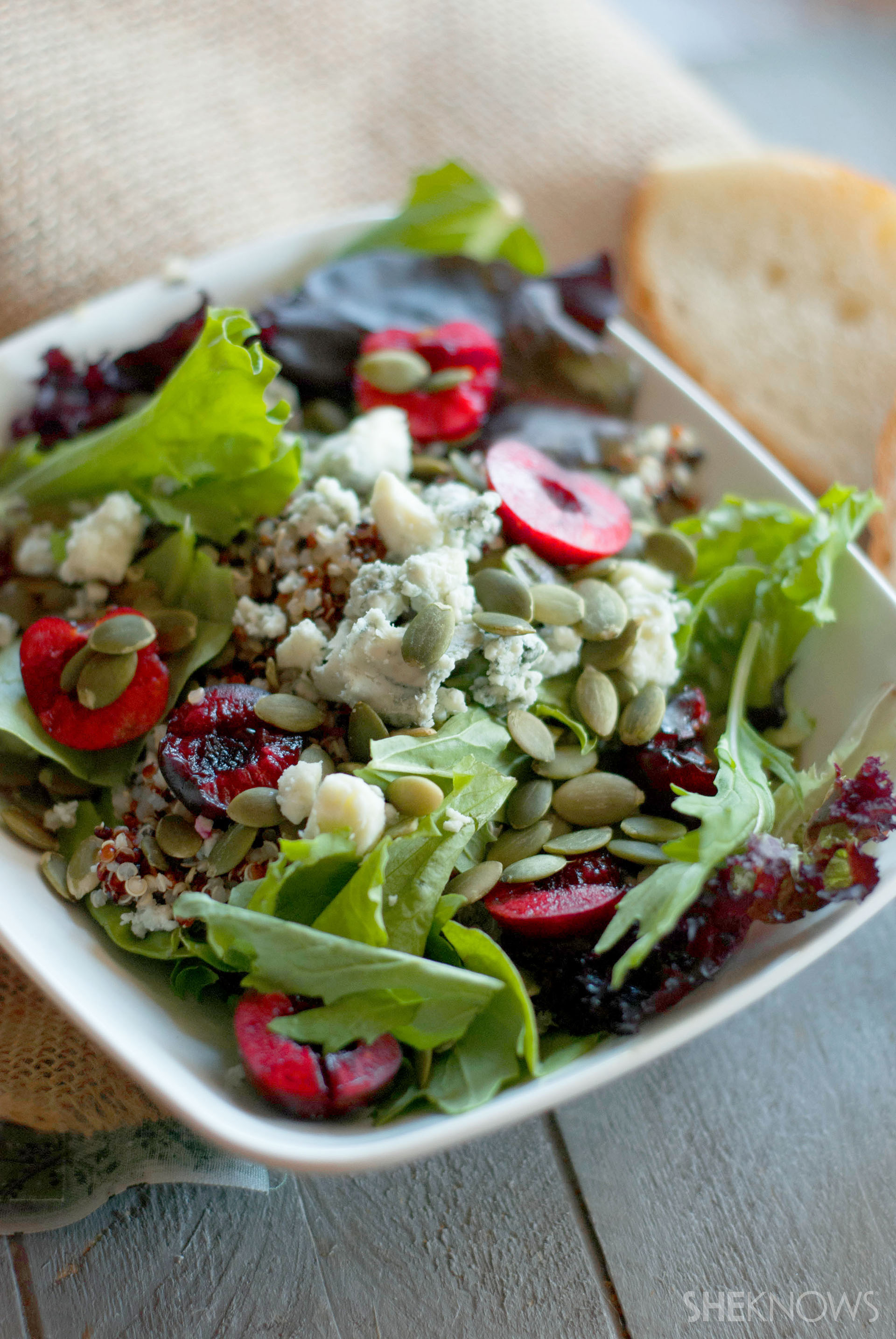 Fresh cherry quinoa salad with pumpkin seeds recipe