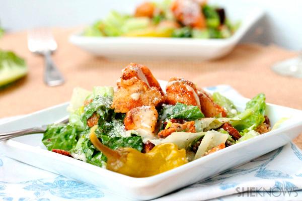 Chicken nugget Caesar salad recipe