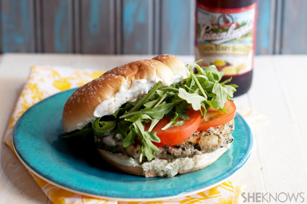 Spinach feta chicken burgers with rosemary mayo