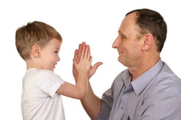 Child meeting man