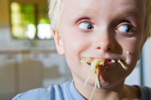 Child with bad eating manners
