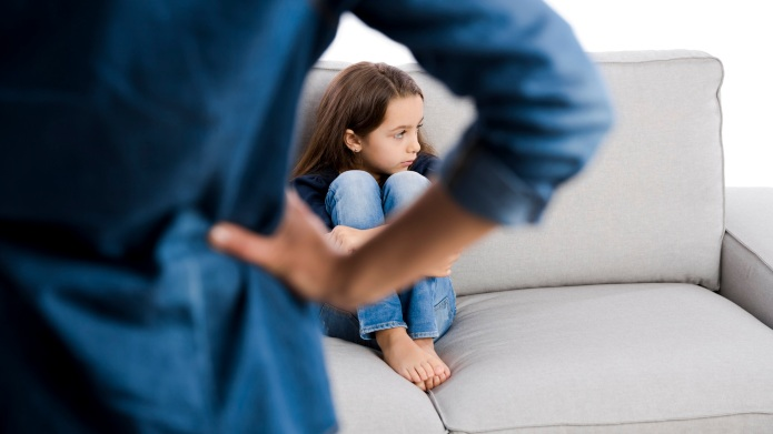 Grown up rebuking a little child