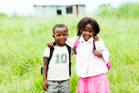 Children in Africa with backpack