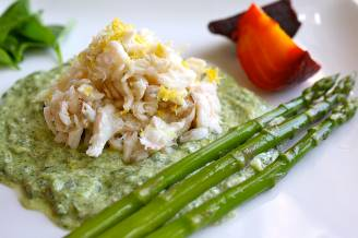 Chilled lobster salad with steamed asparagus