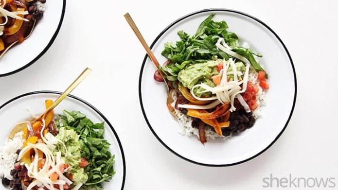 Vegetarian burrito bowls make for a