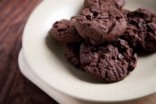 Chocolate cookies on a white plate