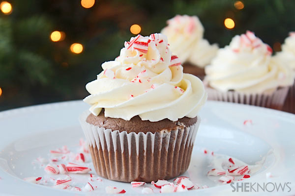 Double chocolate mocha cupcakes with peppermint buttercream