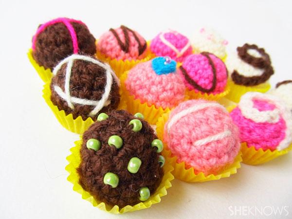 Valentine's Day crochet box of chocolates: Chocolates
