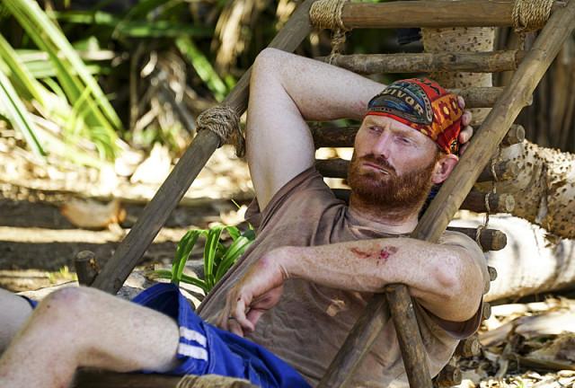 Chris Hammons relaxes at camp on Survivor: Millennials Vs. Gen-X