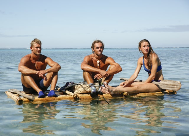 Chris Noble, Sebastian Noel and Morgan Ricke on Survivor: Ghost Island