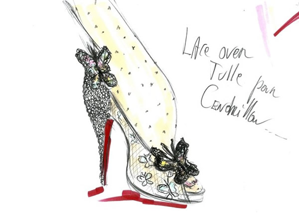 Cinderella slipper sketch by Christian Louboutin