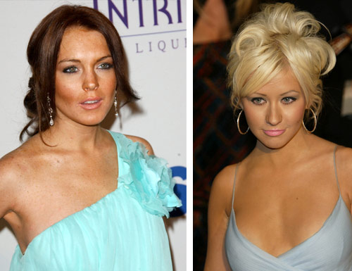 Lindsay Lohan/Christina Aguliera - self-tanner abusers