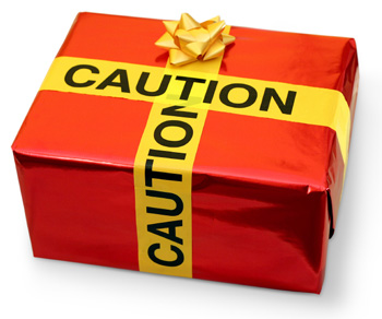 Christmas Gift with Caution Tape