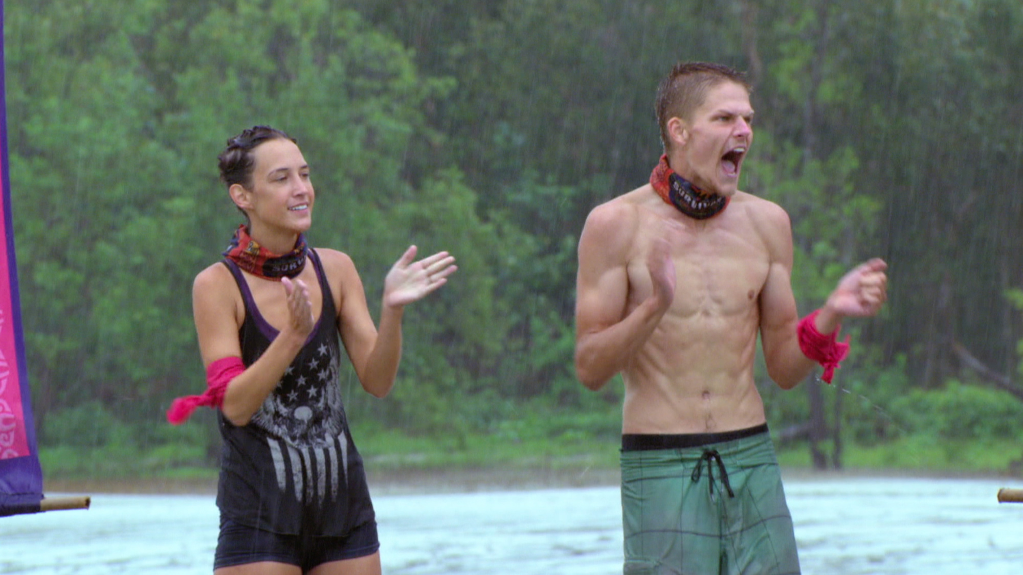 Ciera Eastin and Spencer Bledsoe cheer during challenge on Survivor: Second Chance