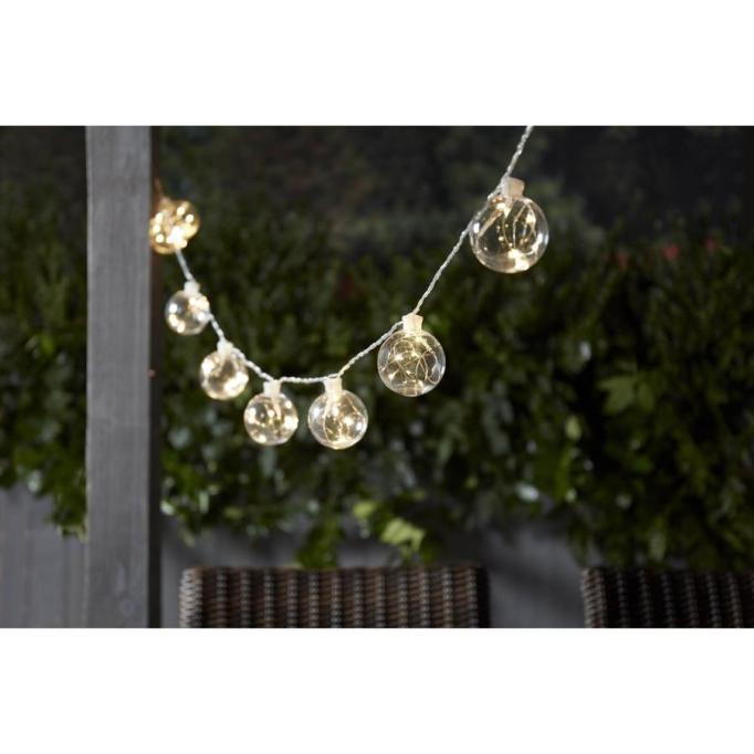allen + roth 12.5-ft 10-Light White LED Plug-in Globe String Lights