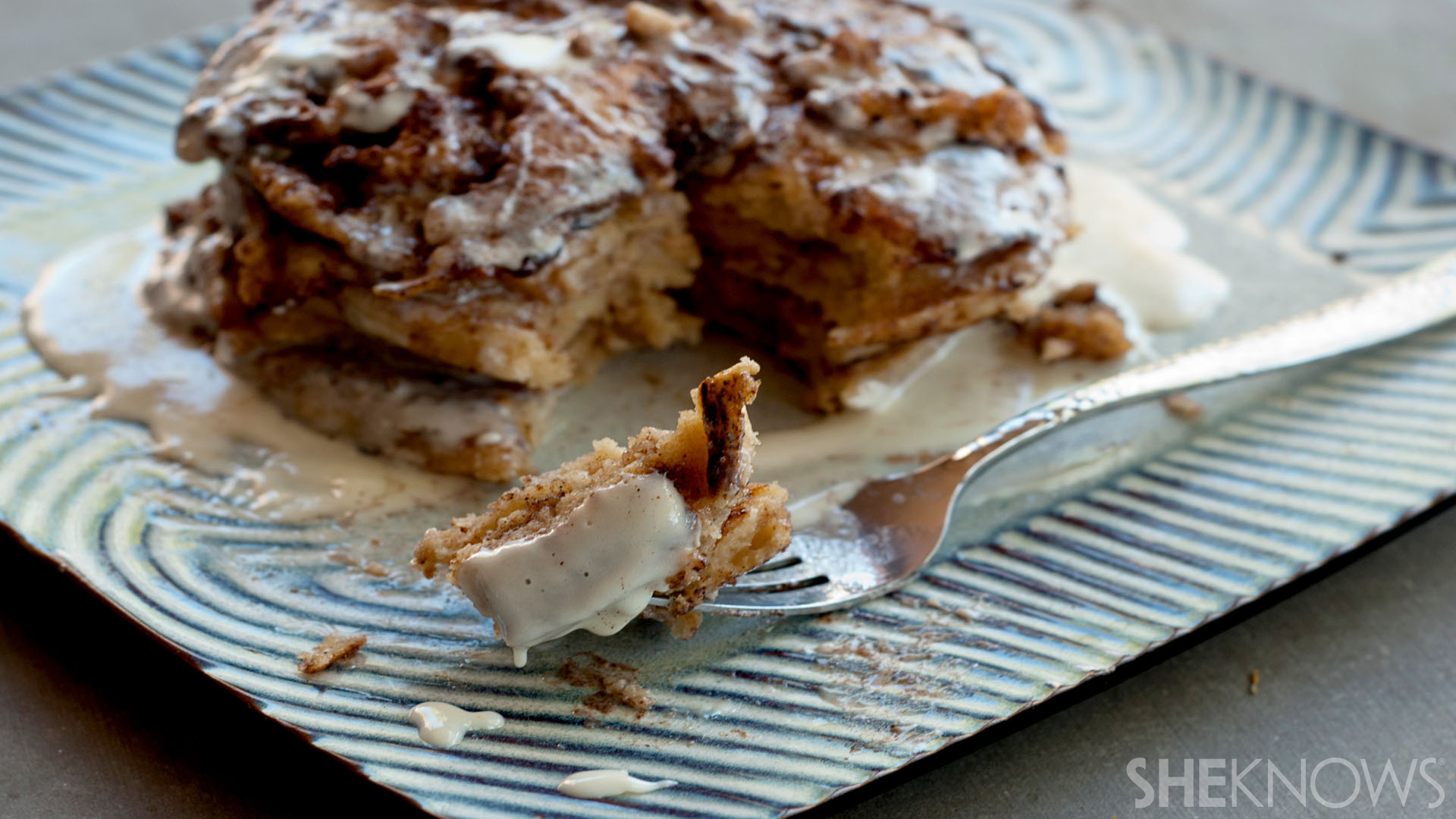 Cinnamon roll pancakes with cream cheese drizzle recipe