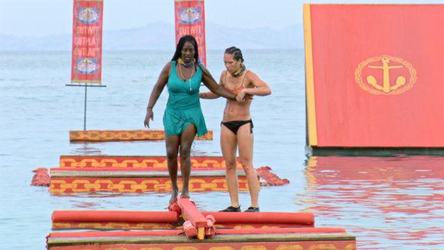 Cirie Fields crosses balance beam in challenge on Survivor: Game Changers