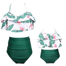 High Waisted Palm Leaves Swimsuit