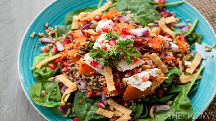 A roasted pumpkin quinoa bowl is