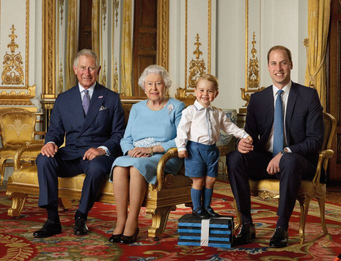 Prince George family portrait with the Queen