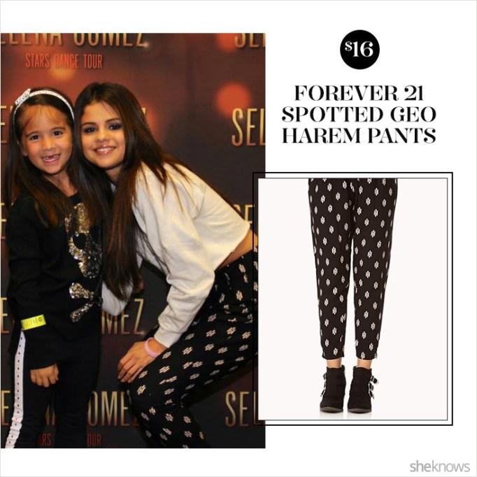 Selena Gomez in Forever 21 harem pants