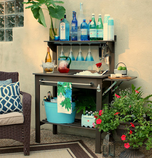 Use a potting bench as a serving bar