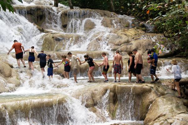 Climbing Dunns River Falls, Jamaica
