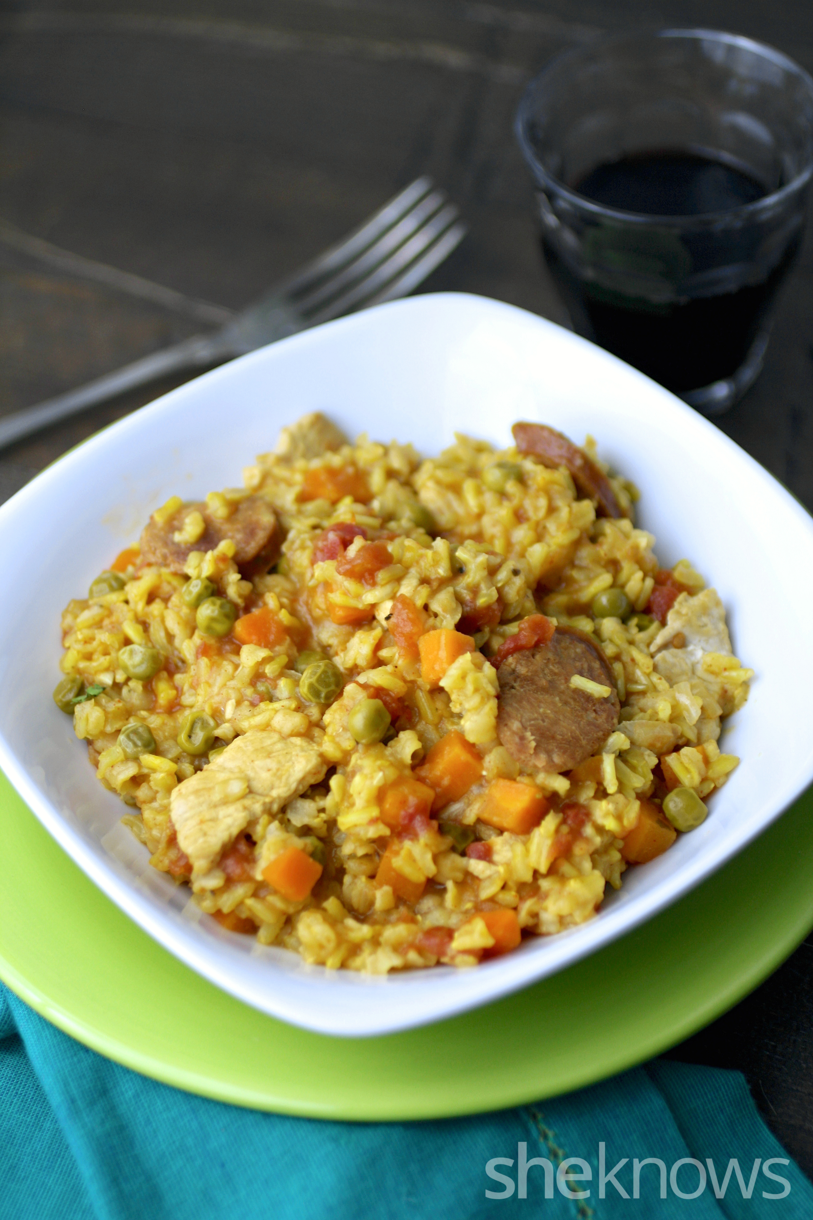 Slow cooker sausage and chicken paella is a treat at mealtime.