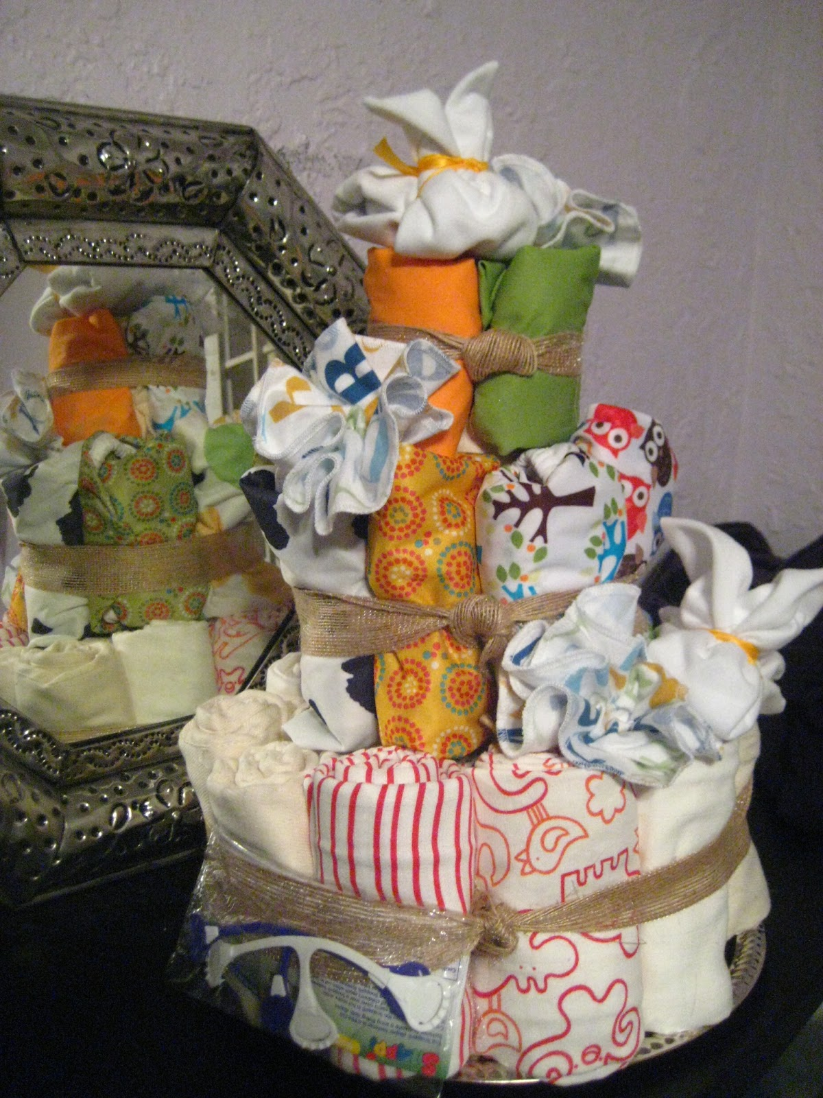 Cloth diaper cake from 2 Sleeping Babies