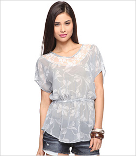 bow print chiffon top from Forever 21