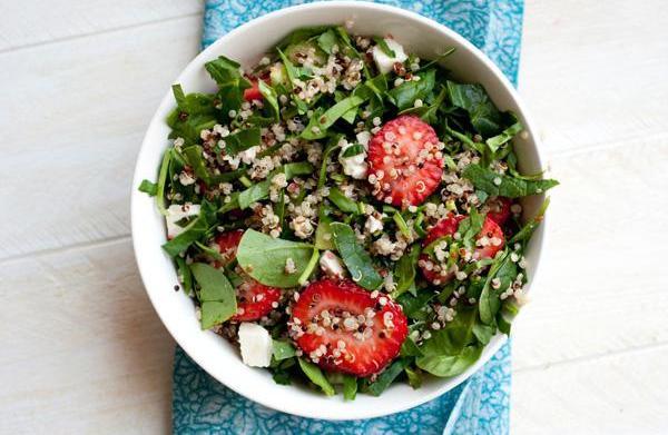 Strawberry basil quinoa salad with champagne