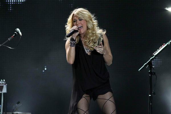 Carrie Underwood performing in concert
