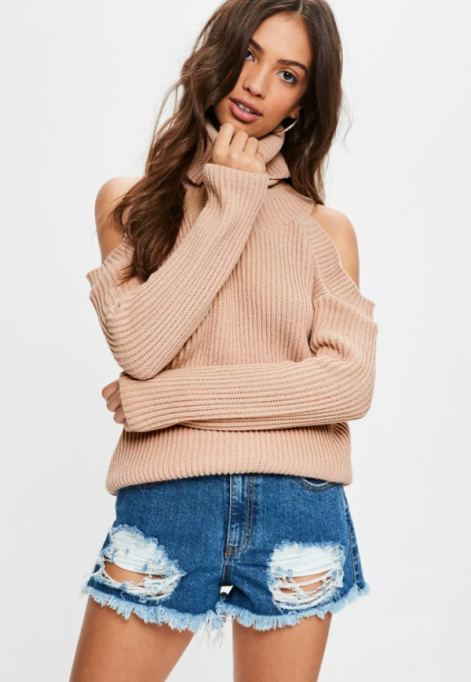 Cozy Sweaters For Under $100: Nude Cold Shoulder Knitted Sweater | Fall Fashion 2017