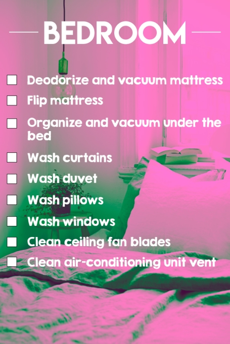 A bedroom cleaning checklist