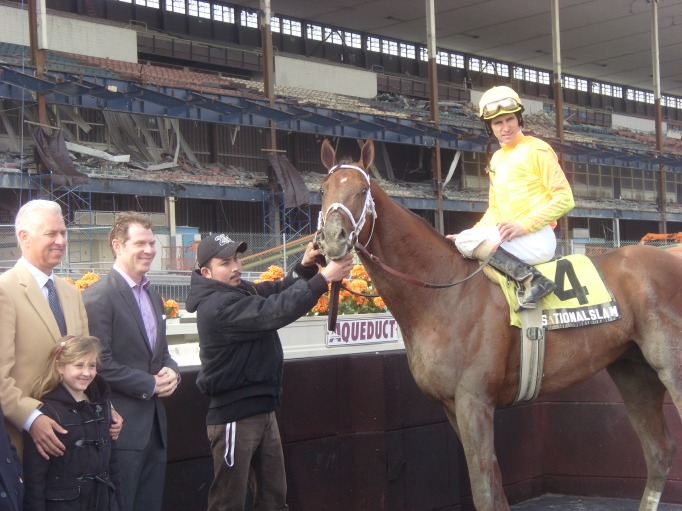 Bobby Flay with one of his race horses and jockey.