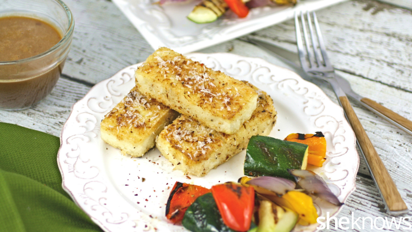 coconut-crusted tofu with spicy peanut sauce